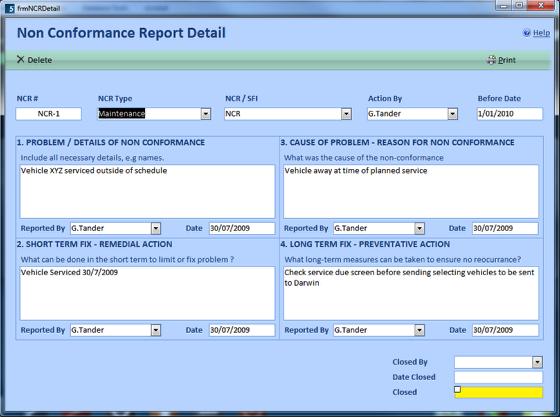 NCR - Non Conformance Report